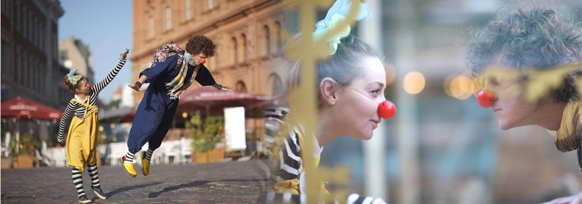 clown giocolieri trampolieri